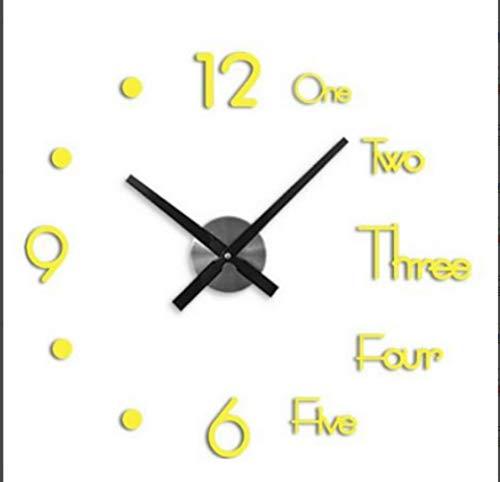 aifengxiandonglingbaihuo 2019 Nieuwe Klok Muur Klokken 3d Diy Acryl Spiegel Stickers Huisdecoratie Woonkamer Quartz Naald, goud, Russische Federatie
