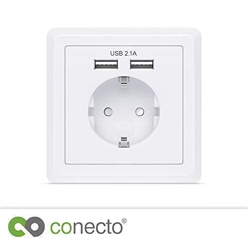 Preisvergleich Produktbild conecto Schutzkontakt Steckdose Einbausteckdose Wandsteckdose Unterputz mit 2x USB Anschluss,  weiß