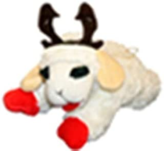 """Multipet Holiday Lamb Chop with Reindeer Antlers Plush Dog Toy (10.5"""" Laying Lamb)"""