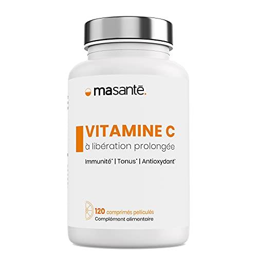 MA SANTÉ Vitamina C de Liberación Prolongada 120 comprimidos 500mg | Complemento alimenticio vegano | Triple acción: Inmunitaria - Tonificante - Antioxidante