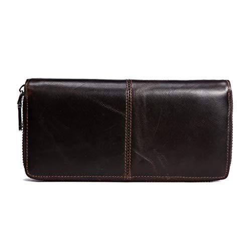 YQQMC Cartera de piel auténtica para hombre, con tarjetero y tarjetero de crédito, con ventana de identificación, duradera (color marrón oscuro)