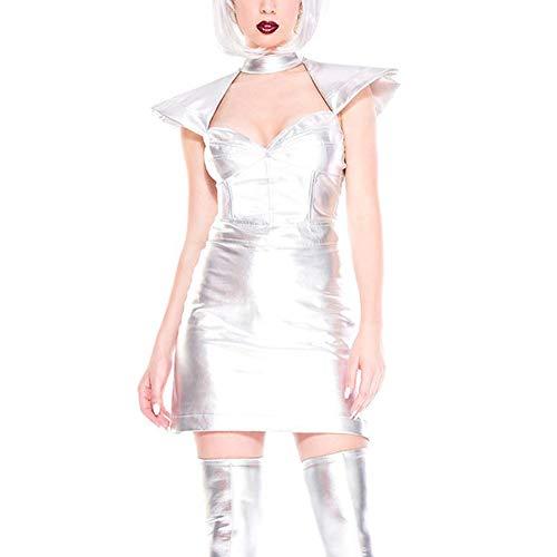 Fhony Vestido de Cuero Mujer Vestido de Charol Sexy Vestido PU Esculpiendo Ropa PVC Látex Piel Interior Hueca Charol Brillante Metálico Ropa de Baile Clubwear Stripper,Plata,M
