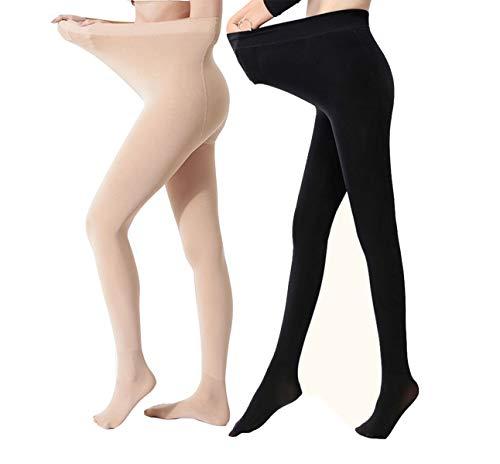 Yulaixuan Womens 2 Paare Plus Size Strumpfhosen 120 Denier in voller Länge Verstärkte undurchsichtige Strumpfhosen füßige dicke Hosen Winter Leggings (1 Haut und 1 schwarz)