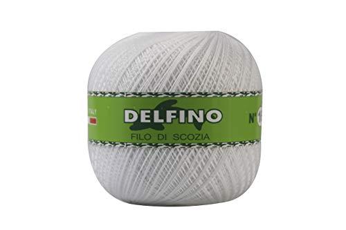 DELFINO Filato Cotone per Uncinetto 100g - Disponibile in più Colori e Spessori - Gomitolo Colore Bianco (001) - Spessore Numero 5 - da Ricamo 100% Filo di Scozia - 100% Made in Italy