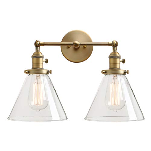 Permo Double Sconce Vintage Industrial Antique 2-lights Wall Sconces with Funnel Flared Glass Clear Glass Shade (Antique)