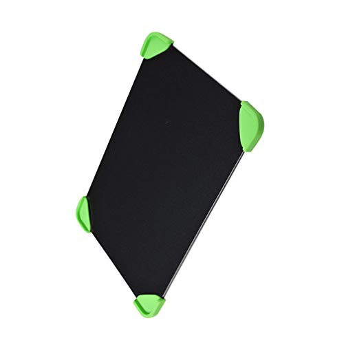 Happyyami Fast Defrosting Tray Aluminum Rapid Thawing Plate Board Meat Defroster with 4 Silicone Corner Pad for Meat Pork Beef Fish Black 23x16. 5cm