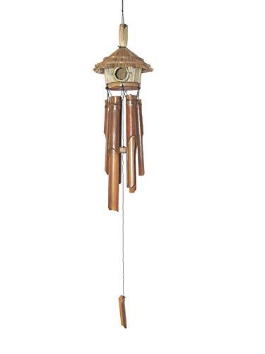 Bambus Windspiel mit Vogelhaus/Vogelnest längstes Rohr 30 cm Garten-Deko Bambus-Klangspiel mit harmonischem Ton und warmem Klang Feng Shui