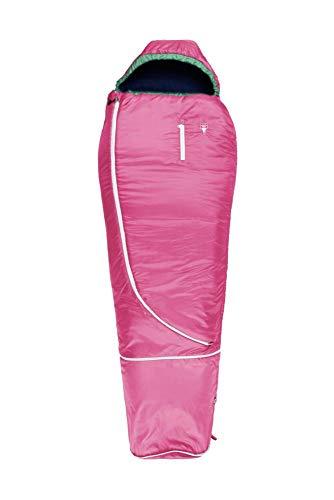 Grüezi-Bag Biopod Wolle Kids World Traveller Pink, mitwachsender Kinderschlafsack, Körpergröße 100-155cm, 140-180x65cm, 920 g, Packmaß Ø 19 x 20 cm