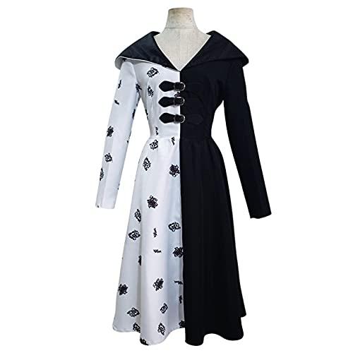 ACCLD Disfraz de Bruja para niñas Deville, Vestido Blanco y Negro, Peluca, Disfraz de Villano, Vestido de Halloween, Disfraz de Cosplay,Negro,XXL