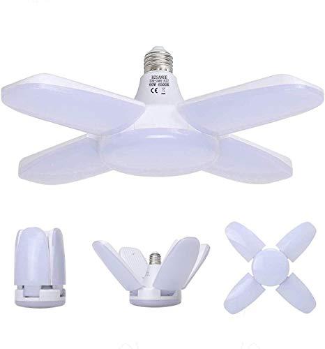 HZSANUE E27 LED Luz de Garaje 60W, 6500K Blanco Frío 5500Lm Lámpara de Taller Deformable con 4 Paneles Ajustables, Iluminación de Techo LED, para Garajes, Sótanos, Almacén, Ático, Gimnasio (Pack de 1)