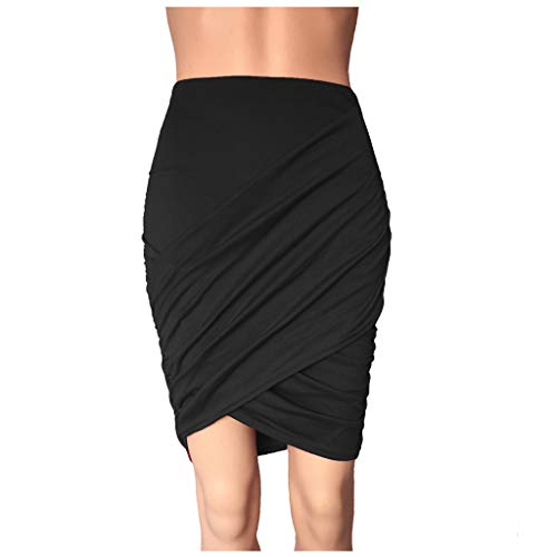 Timitai Damen Rockabilly Rock Fashion Ladys Sexy Rock Plissee Cross High Waist Solide Beiläufige Dünne Basis Rock