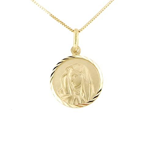 Lucchetta – Collar de oro para mujer, medalla Virgen María, oro amarillo de 14 quilates, colgante Virgen María, 12 mm, cadena de 45 cm, joya fabricada en Italia, cód. XD3041-VE38