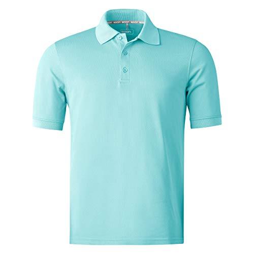 agon Herren Pique Polo-Shirt - Kurzarm-Hemd für Männer mit Knopfleiste, bügelfrei und atmungsaktiv, für Sport und Business, Made in EU Türkis 54/XL