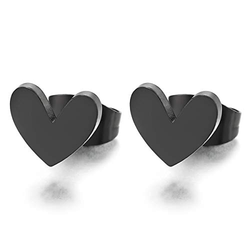 Pequeño Negro Planas Corazón Pendientes de Mujer, Aretes, Acero Inoxidable, 2 piezas