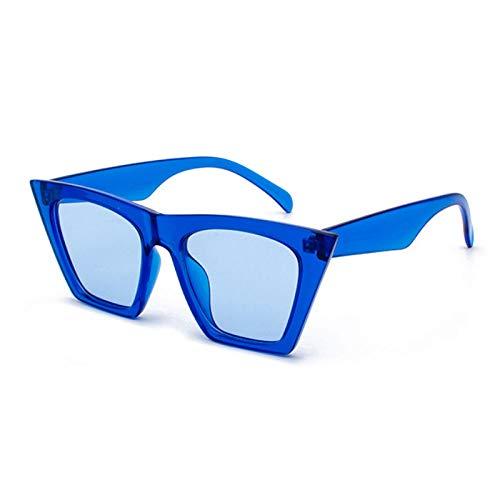 ZHRDRJB Sonnenbrille Damen Blaue Sonnenbrille Square Gläser Personalisierte Katze Augen Bunte Sonnenbrille Trend Vielseitige Sonnenbrille Uv400 Vorhang