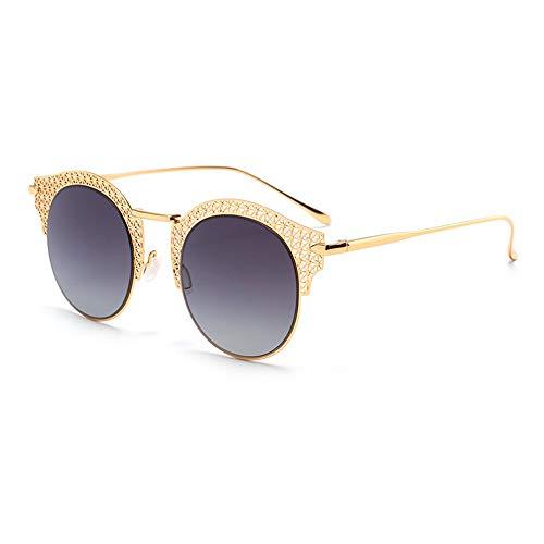 WHSS Sunglasses UV400 Negro Dorado Tendencia De Moda Hoja De Película De Color Gafas De Sol Señoras Viaje Playa Espejo Conductor (Color : Gold)