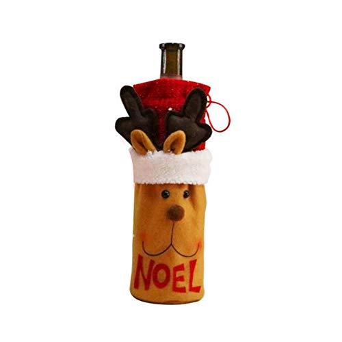 Maxte Christmas Wine Bottle Cover Clothes Decorations Set Snata Claus Snowman Xmas Home Decoration
