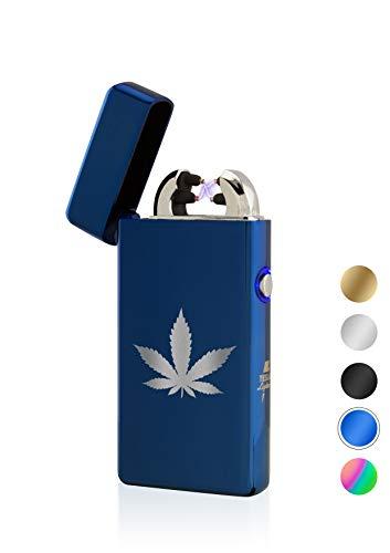 TESLA Lighter T08 Lichtbogen Feuerzeug, Plasma Double-Arc, elektronisch wiederaufladbar, aufladbar mit Strom per USB, ohne Gas und Benzin, mit Ladekabel, in edler Geschenkverpackung, Blau Hanfblatt