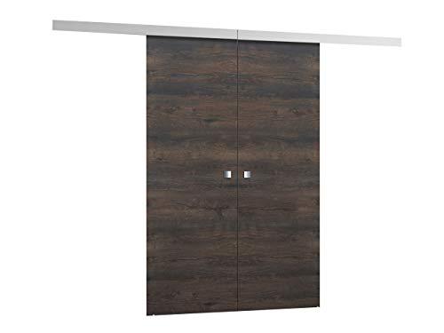 Schiebetürsystem Multi Duo 3 Breite wählbar Synchronisiertes Öffnen Komplett-Set für Schiebetüren mit Bodenführung Abstandsführung Trennwände Innentüren (Dunkel Esche, Modell 120, mit Selbstschließer)