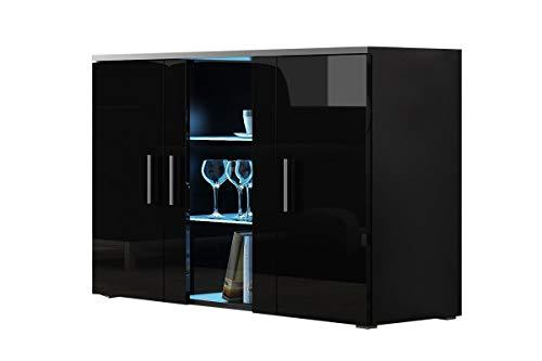Furniture24 Kommode mit Blauer LED Beleuchtung SOHO S7 Sideboard Schrank Wohnzimmerschrank mit 3 Türen (Schwarz/Schwarz Hochglanz)
