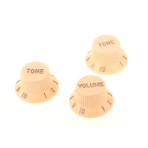 Musiclily Métrica 1 de Volumen y 2 de Tono Perillas Botón de Potenciómetro para Stratocaster, Crema