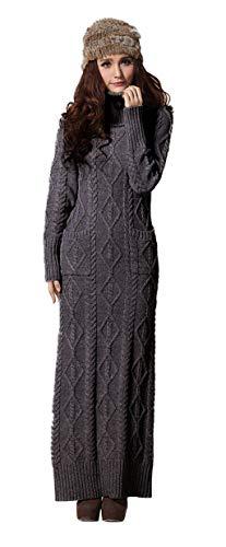 BININBOXDamenkleider Strickkleid Maxikleid Knit Dress Rollkragen Cable Sweatkleid (S, Dunkelgrau)