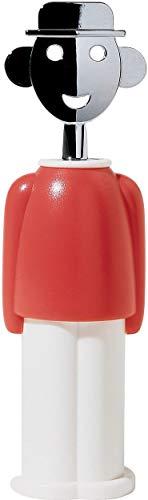 Alessi | Alessandro M. AAM23 R - Design Korkenzieher aus Verchrometem Zamak und Thermoplastischer Harz, Rot