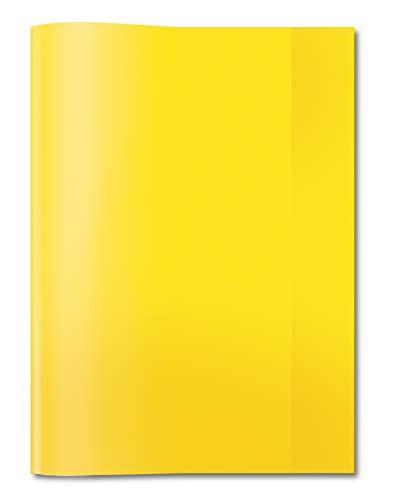 HERMA 7491 Heftumschlag DIN A4 transparent, durchsichtig, Hefthülle aus strapazierfähiger und abwischbarer Polypropylen-Folie, Heftschoner für Schulhefte, gelb