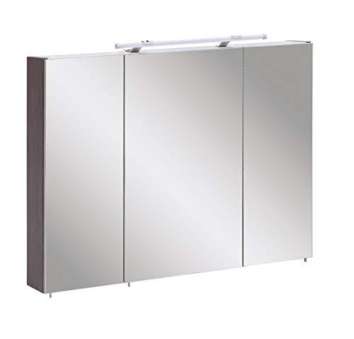 Schildmeyer Trient Spiegelschrank, Holzdekor, Esche grau Dekor, 90.0 x 16.0 x 75.0 cm