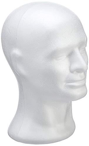 RAYHER Styropor-Kopf männlich, Ständer für Perücken, Kopfhörer, Mützen & Co, Größe: 30,5cm