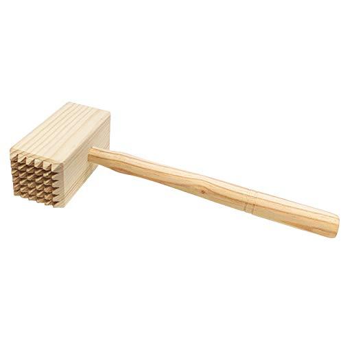 Acan Reggo - Mazo para carne de madera, 25 cm, Martillo ablandador de carne cuadrado de cocina