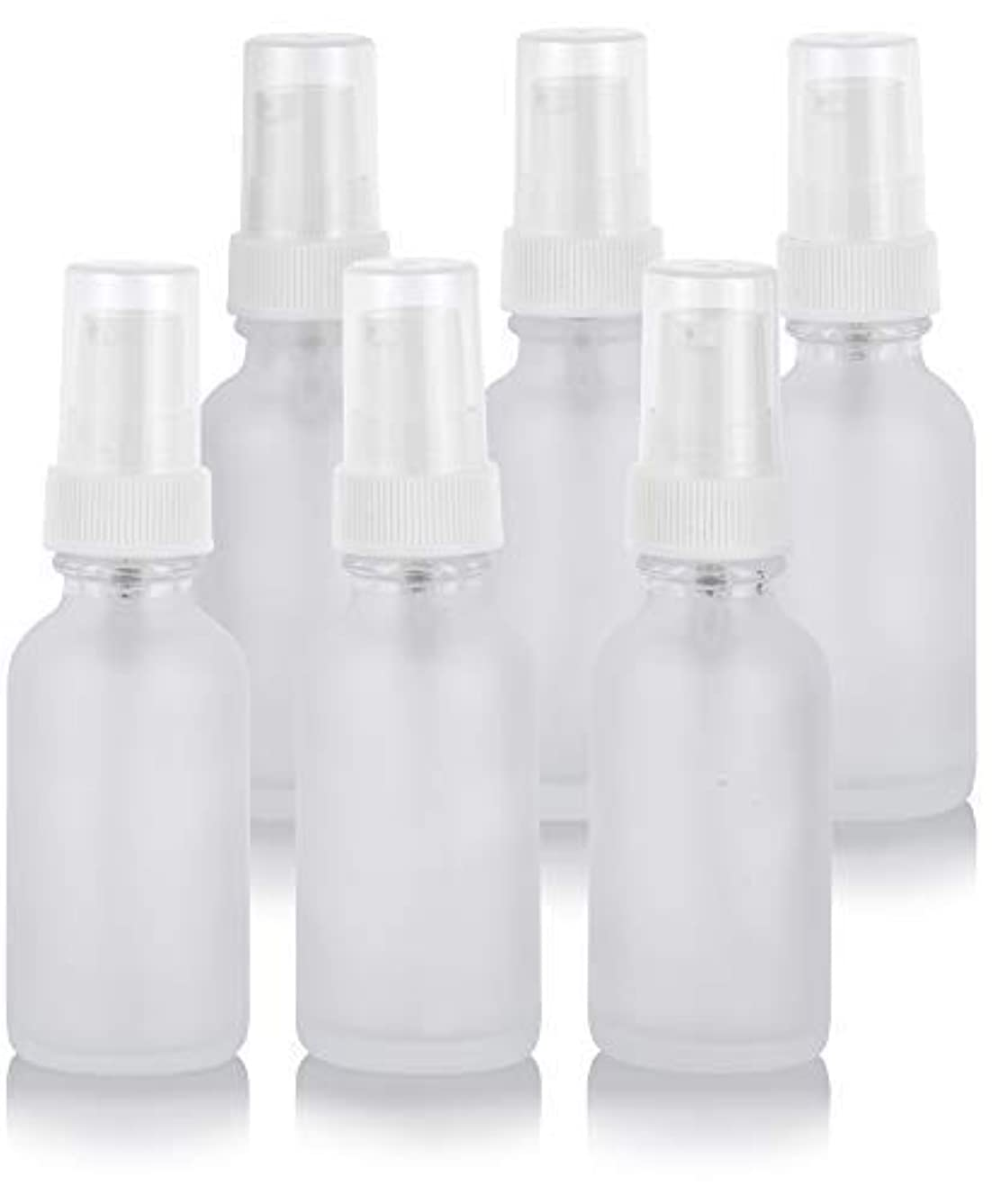 思慮深い空港美容師1 oz Frosted Clear Glass Boston Round White Treatment Pump Bottle (6 Pack) + Funnel for Cosmetics, serums, Essential Oils, Aromatherapy, Food Grade, bpa Free [並行輸入品]