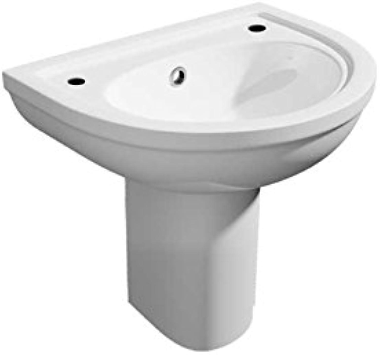 Kartell Lifestyle Ceramic 450mm 2 Tap Hole Semi Pedestal Basin