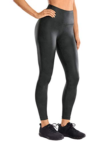 CRZ YOGA Women's Fashion Coated Faux Leather Legging High Waist Pants Workout Tights -25 Inches Coast Gray XX-Small