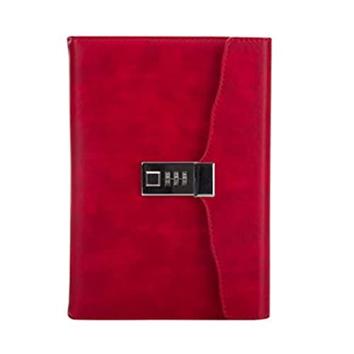 Notebook Locked Business Password Diary Retro Personalidad Engrosada Multifuncional Multifuncional Bloc de Notas de Regalo (120 Hojas) (Color: Negro) Song (Color : Red)