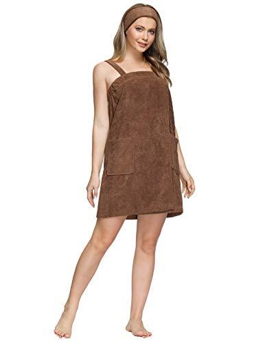 Zexxxy Toalla de baño para mujer, de algodón de bambú, con cierre y bolsillo, vestido de baño y ducha, sarong de sauna, marrón, XXL