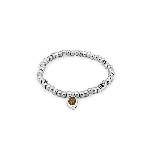 Ciclon Pulsera Acero con Cristal de Murano Ambar. 01062238