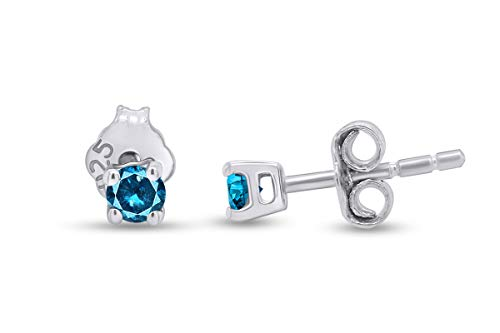 1/4 Ct Round Blue Natural Diamond Solitaire Stud Earrings For Womens 14k White Gold Post Clutch & Sterling Silver (0.25 Carat)