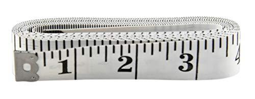 HOME-X Cinta métrica extralarga, cinta métrica suave, medidas corporales, cinta métrica de costura, marcas de impresión grandes, 120 pulgadas de largo, color blanco