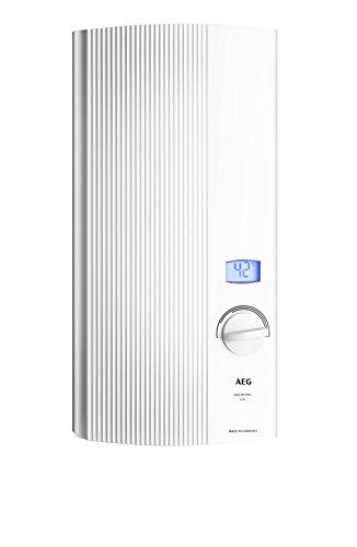 AEG Haustechnik AEG elektronischer Durchlauferhitzer DDLE LCD, 27 kW, druckfest, gradgenaue Temperaturwahl, zweifarbiges LC-Display, solargeeignet, 222395, 400 V, Weiß