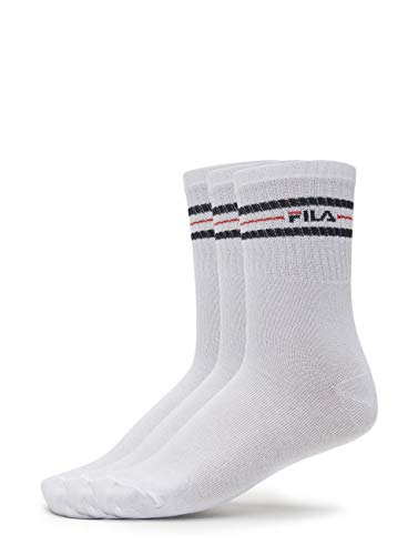 Fila 3 Paar Socken, Street Sport Socks Set, Stripes, Unisex 35-38,39-42,43-46: Farbe: Weiß | Größe: 35-38 (3-5 UK)