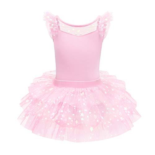 OBEEII Maillot de Danza Tutú Vestido de Ballet Leotardo Traje de Gimnasia Baile Sin Manga con Falda para Niña Rosa 5-6 Años