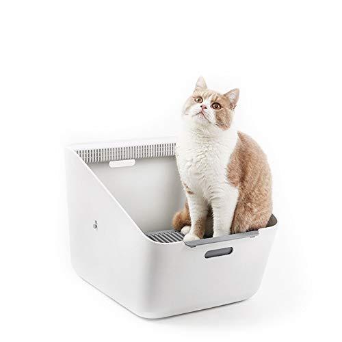 Cacerola autolimpiante automática para la basura de la cerca del animal doméstico de la caja de arena para gatos para el gato grande limpieza más fácil ( Color : Blanco , tamaño : 507*374*350mm )