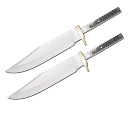 Whole Earth Supply (Set of 2) Custom Blank Blade Knife Small Bowie Hunter Making with Brass Guard Bolster BL001