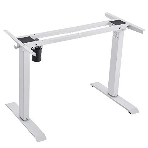 Houssem Escritorio eléctrico regulable en altura, color blanco, ergonómico, estructura de escritorio de pie con almacenamiento de elevación para oficina en casa (sin mesa)