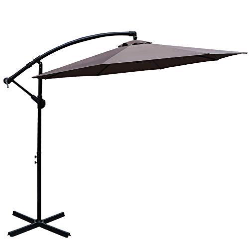 ABCCANOPY 10' Hanging Umbrella Cantilever Umbrella Offset Patio Umbrella Outdoor Market Umbrella Easy Open Lift 360 Degree Rotation (Coffee)