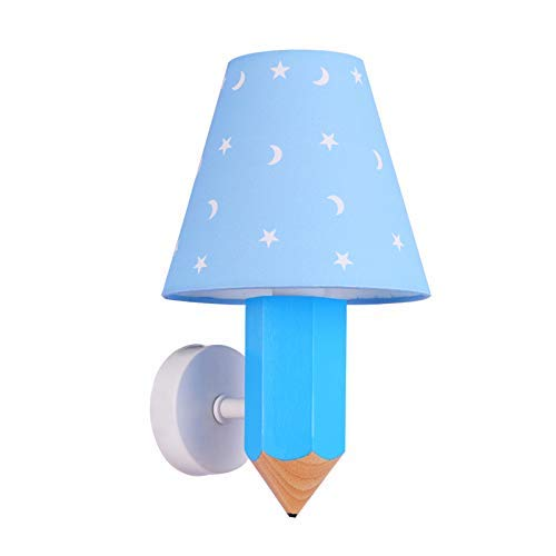 Willlly Moderne Bois Enfants Mur Lampe Bleu Star Moon Image Textile Abat-Jour Applique Crayon Créatif Modélisation Pépinière Lampe Chambre Éclairage Décoration Éclairage (Color : Colour-Size)