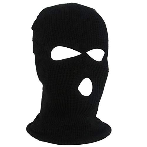 GROOMY Hedging Cap, Halloween 3-Loch gestrickte Vollgesichtsabdeckung Winter Warm Neon Sturmhaube Maske Hut-B