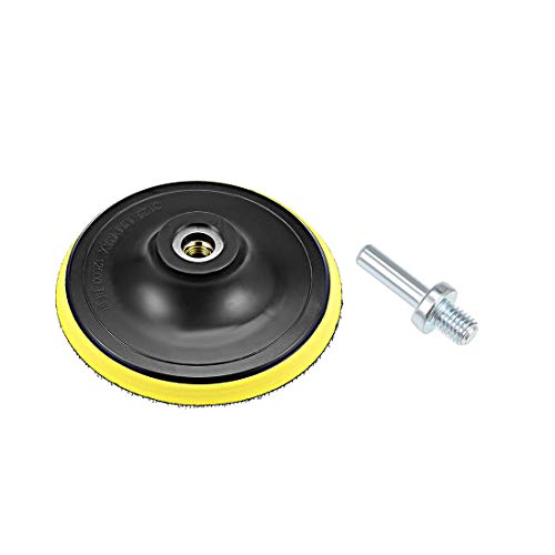 uxcell 5' Hook and Loop Backing Pad Sanding Polishing Backer Plate with M10 Drill Adapter for Random Orbit Sander Polisher Buffer