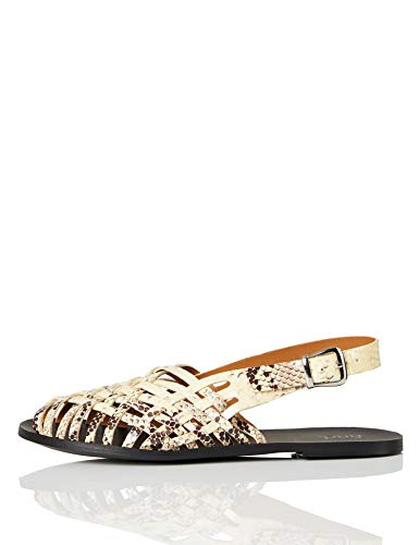 FIND Weave Slingback Leather Sandalias de Punta Descubierta, Beige (Snake Natural), 37 EU